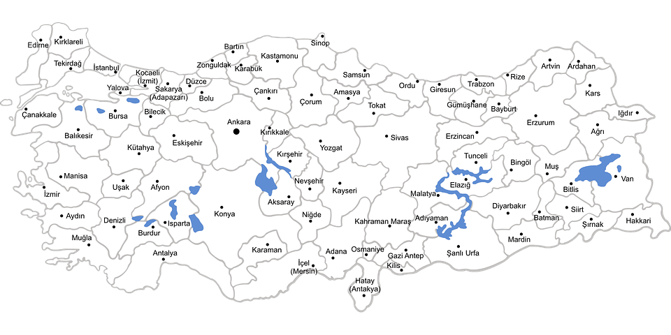 Turkey Map Provinces - Free vector graphic on Pixabay