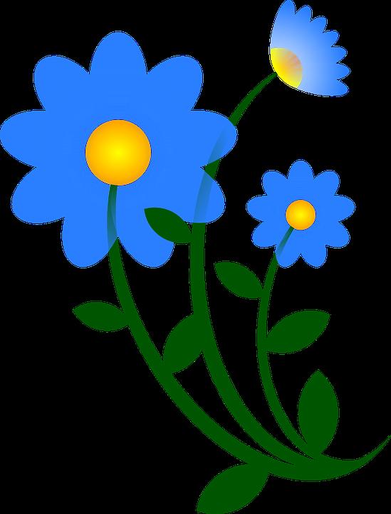 blue flower green free vector graphic on pixabay rh pixabay com free vector flower illustrations free vector flower border