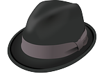 hat, trilby, black