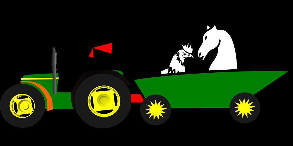 Tractor Cart Clip Art : Gratis vectorafbeelding landbouwer dieren auto