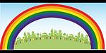 rainbow, people, happiness