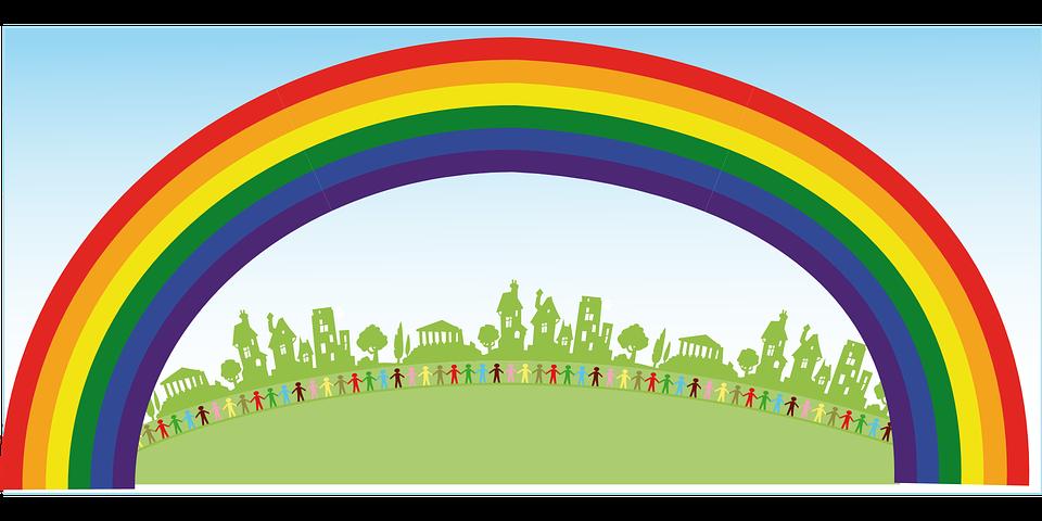 Kostenlose Vektorgrafik Regenbogen Menschen Gl 252 Ck