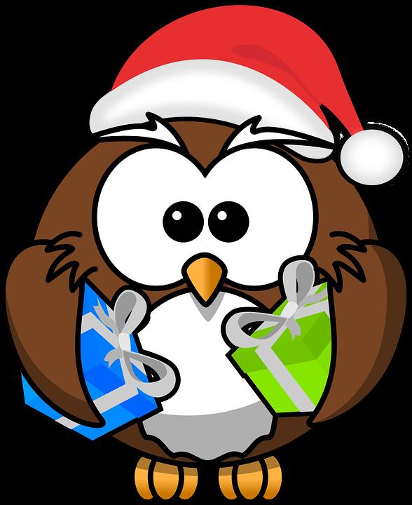 free vector graphic owl  santa  animal  bird  christmas christmas owl clip art black and white Christmas Owl Clip Art Black and White