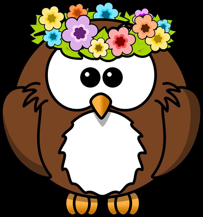 Chouette, Des Animaux, Oiseau, Fleurs, Funny, Garland