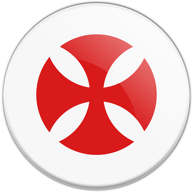 free vector graphic templar cross red button free
