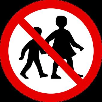 Children, Walking, Forbidden, Sign