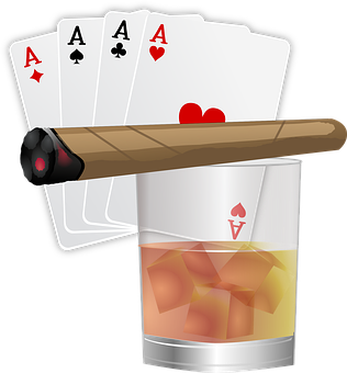 Poker, Aces, Cards, Cigar, Drink