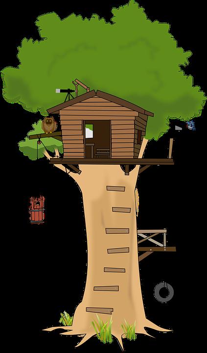 Kostenlose Vektorgrafik: Baum, Baumhaus, Woodhouse, Holz ... Wendeltreppe Um Einen Baum Baumahus