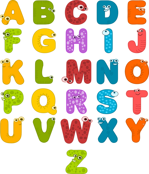 Alphabet Eyes Letters Funny Colorful Symbols