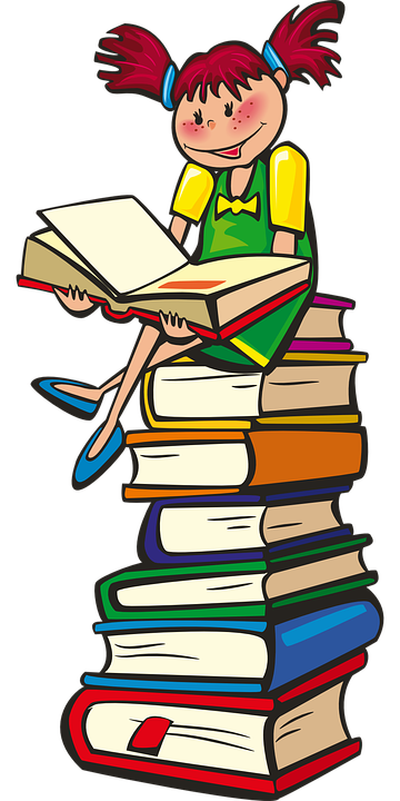 Girl, Books, School, Reading, Learning, Happy