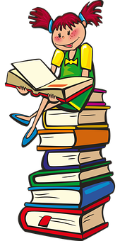Mädchen, Bücher, Schule, Lesung, Lernen