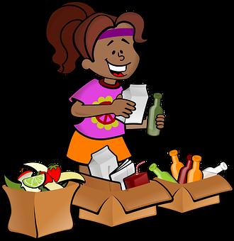 女性, 女の子, ブラック, ごみ, リサイクル, 環境意識, 牛乳, ボトル