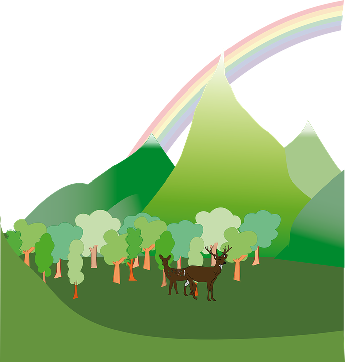 Free Vector Graphic Forest Mountain Nature Deer Free Image On Pixabay 160332