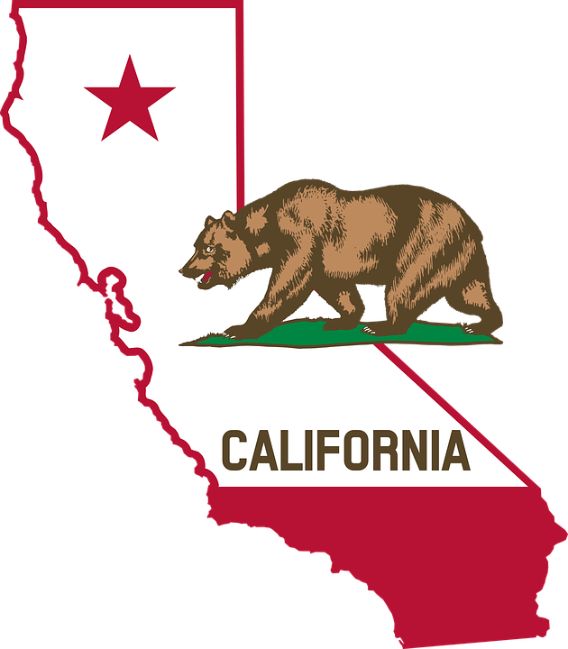 California Bear Flag Map Usa Geography America