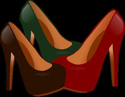 Heels, Shoes, Red, Green, Black, Fashion