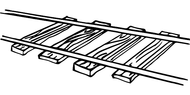 Line Art Train : Free vector graphic railroad track train image