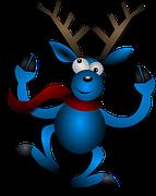 Reindeer, Dancing, Blue, Christmas, Noel
