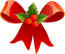 Christmas, Ribbon, Red, Holly, Green