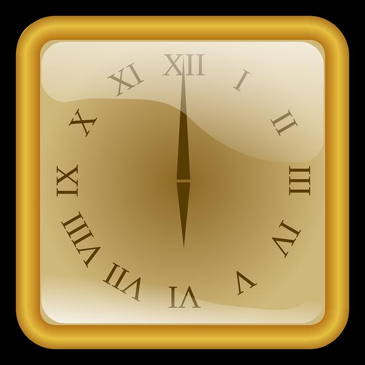 Clock, Golden, Number, Roman, Square