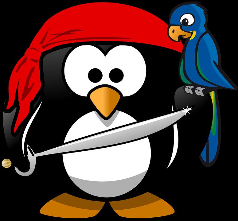 Tučňák, Pirát, Tux, Zvíře, Bandana, Pták, Papoušek, Pet