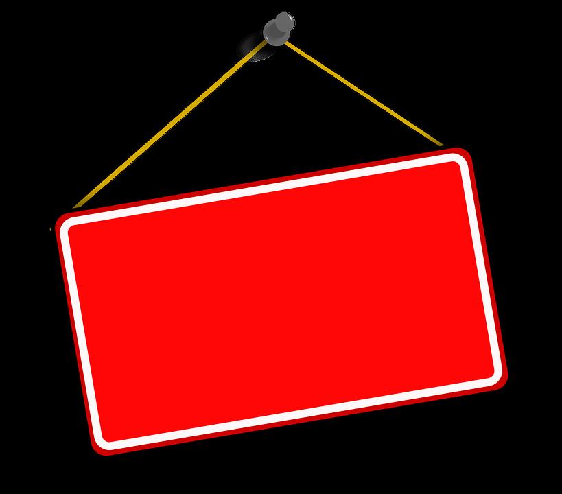 Gambar Vektor Gratis Gantung Tanda Merah Papan