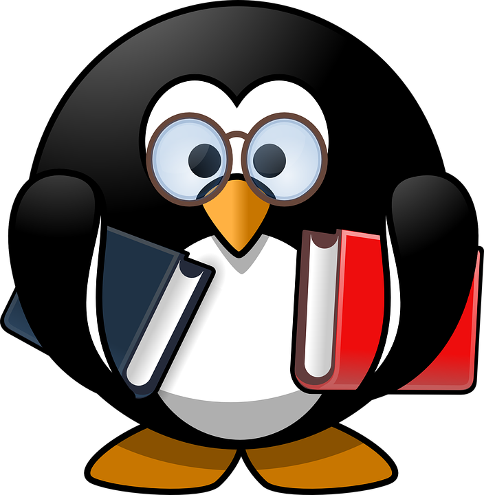 Tux, Animal, Bird, Book, Books, Bookworm, Education