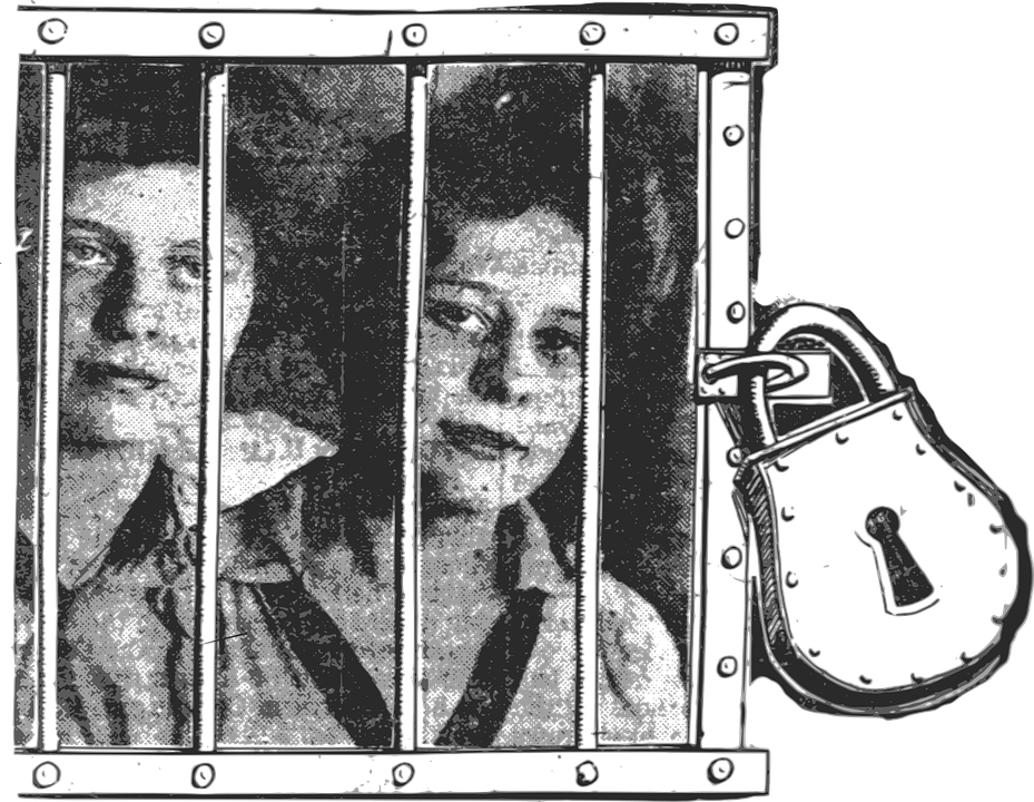 Prison Fence Graphic free vector graphic: jail, padlock, girls, prison, sad - free