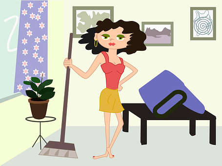 Apartment Cleaning Cartoon Girl Mopping Sw