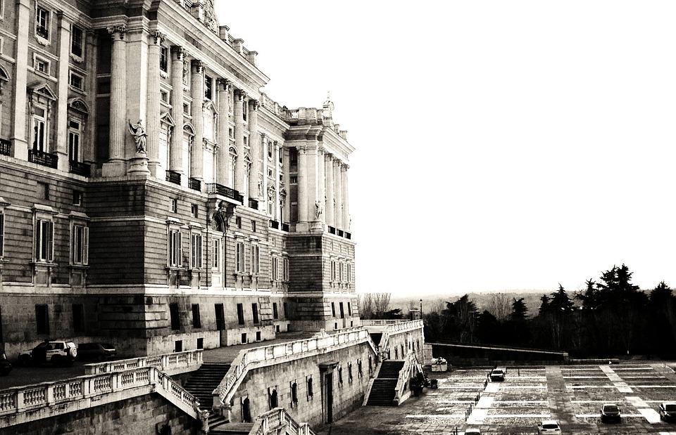 马德里, 皇家宫殿, 宫, 旅游, 体系结构, 黑色和白色, 外观, 现代建