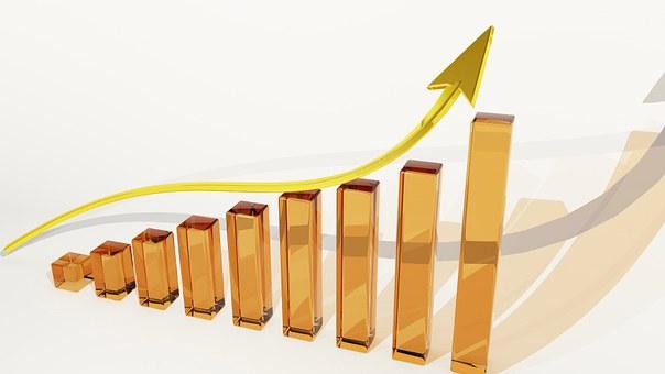 グラフ, 成長, ファイナンス, 利益, 配当金, 運, 銀行, 証券取引所