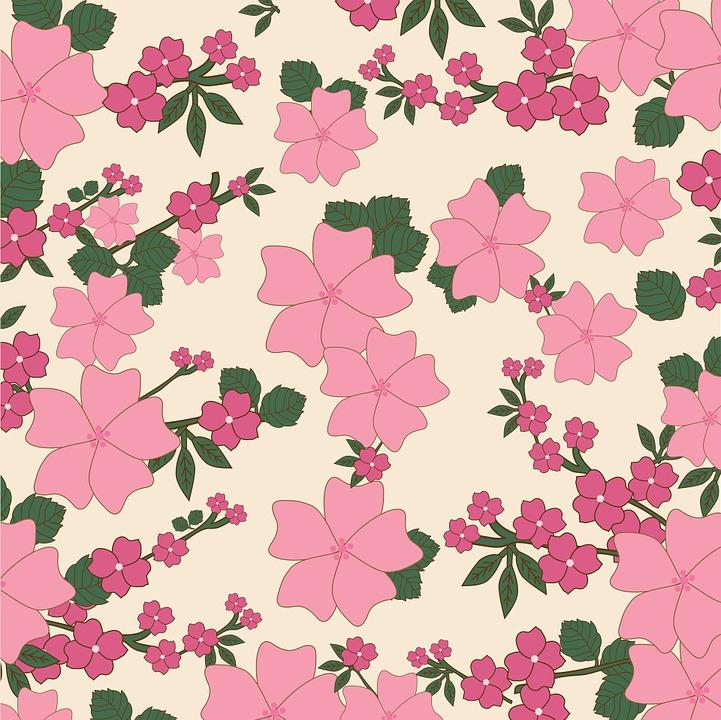 Floral Vintage Flowers Wallpaper Background Pink