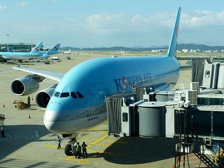 飛行機, 平面, 空港, 大韓航空, エアバス, A380