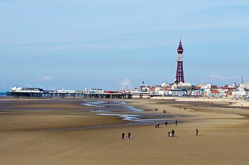 Blackpool, Tower, Attraction, Sea, Beach