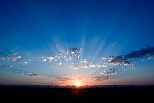 日の出, 空, 青, 日光, 雲, 地平線, シルエット, 日照, 日没
