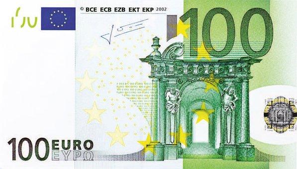 Nota De Dólar, 100 Euros, Dinheiro