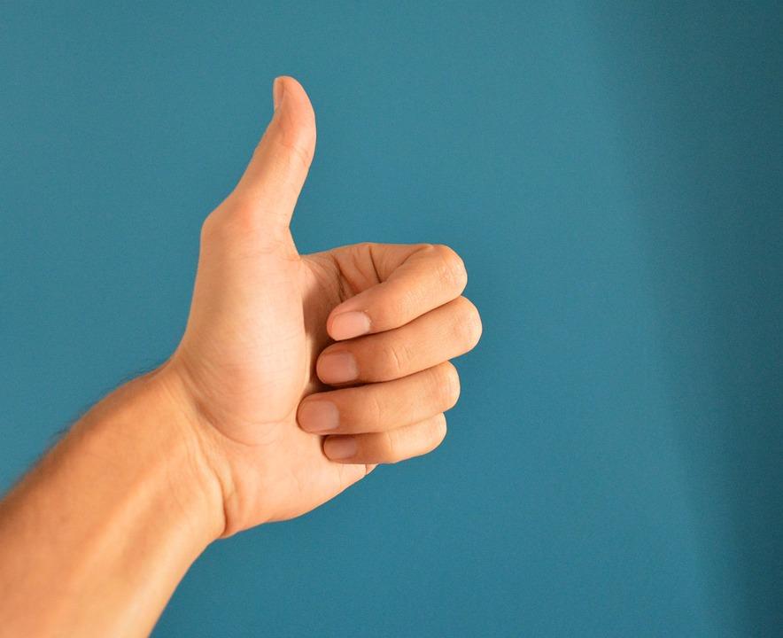 手、親指、上、サイン、人間、指、青い人間