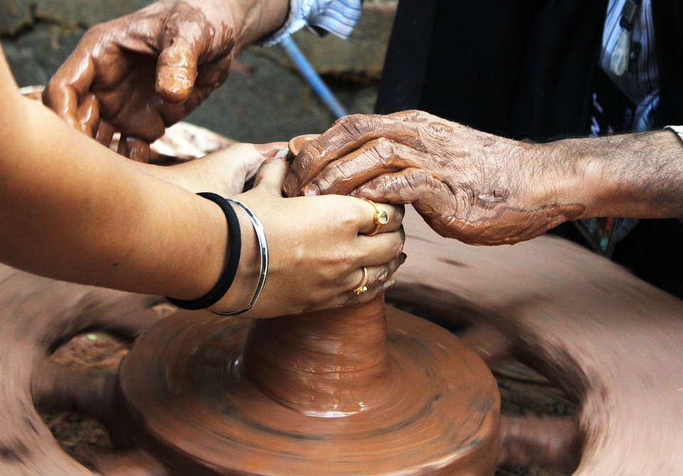 Pottery, Potter, Learning, Hands, Close, Close-Up, View