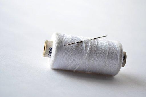Thread, Spool, Needle, Sew, White, Yarn