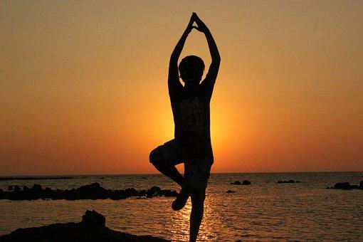 ヨガ, 人, バランス, 瞑想, シルエット, ダンス, 男, スポーツ, 運動