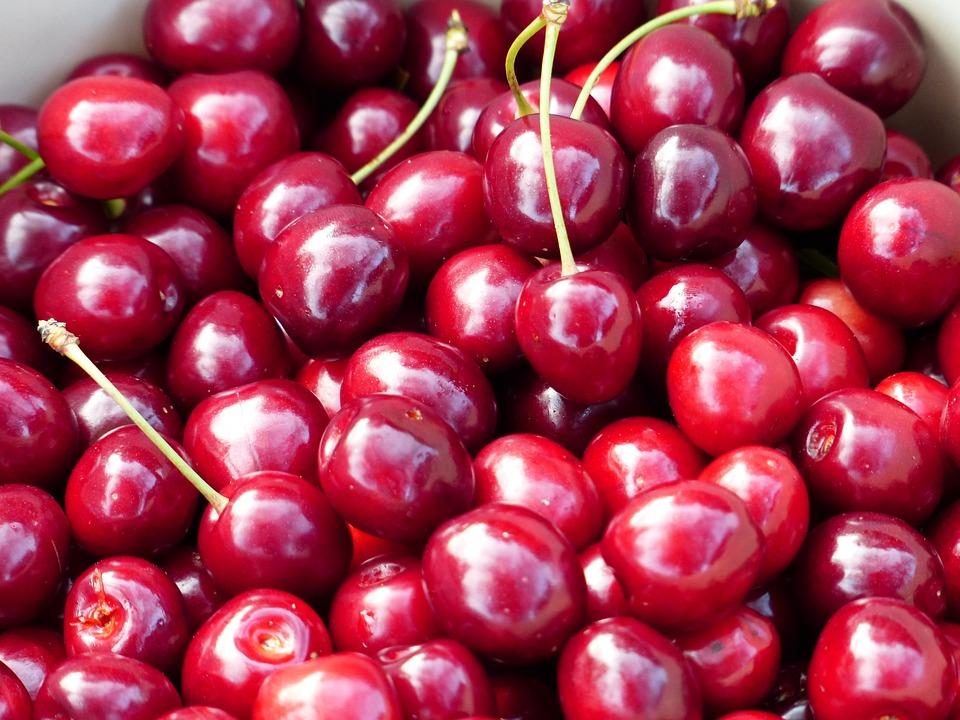 チェリー, 甘いチェリー, 赤, フルーツ, 健康, 葉, 分岐, ブランチ, 夏, おいしい, フルーティー