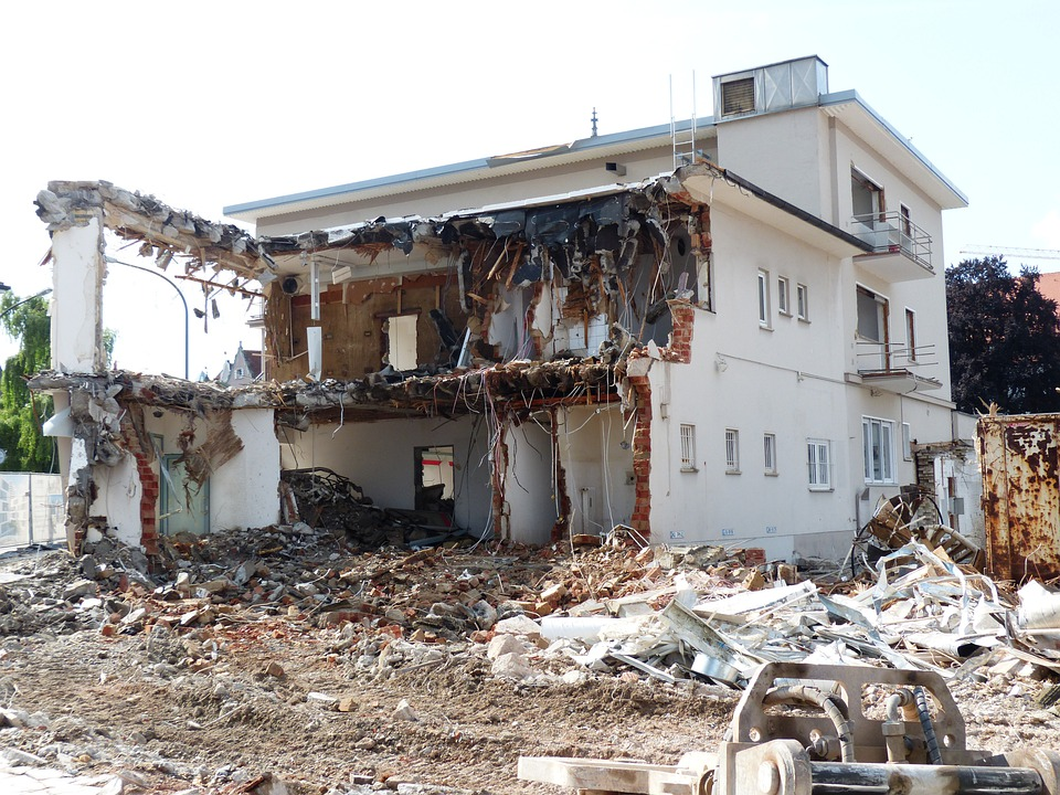 Demolition, Building Rubble, Crash, Site, House