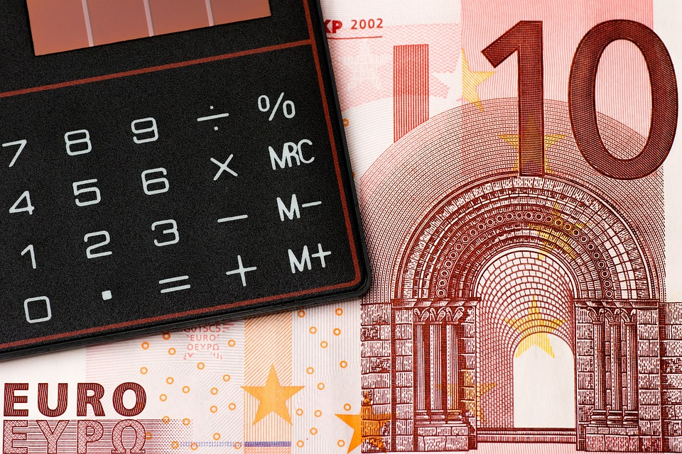 お金, ユーロ, コイン, 紙幣, 電卓, 予算, 保存し, 金融, 証券取引所, 債務, ドル紙幣