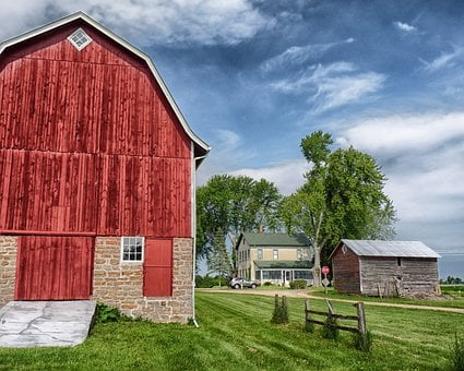 Wisconsin, Farm, Rural, Barn, House