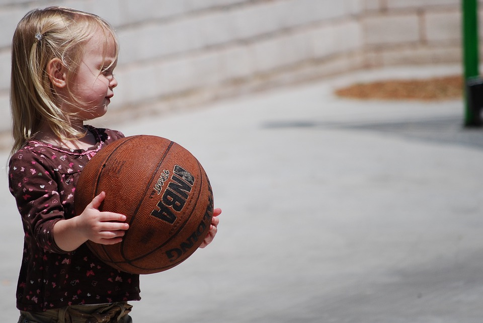 Girl, Basketball, Cute, Playing, Game, Children