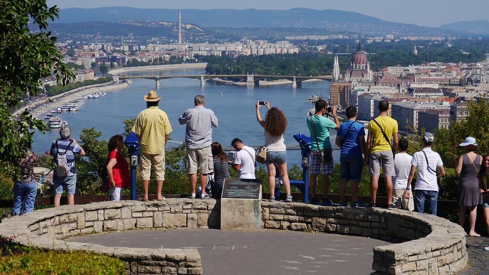 Tourists, Budapest, Hungary, Panorama, Gellért Hill