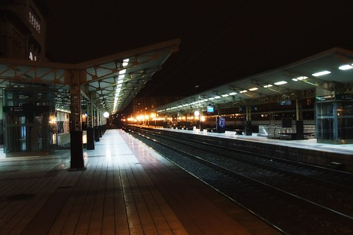 ビトリアガステイス, スペイン, 駅, デポ, トラック, 鉄道, 大量輸送