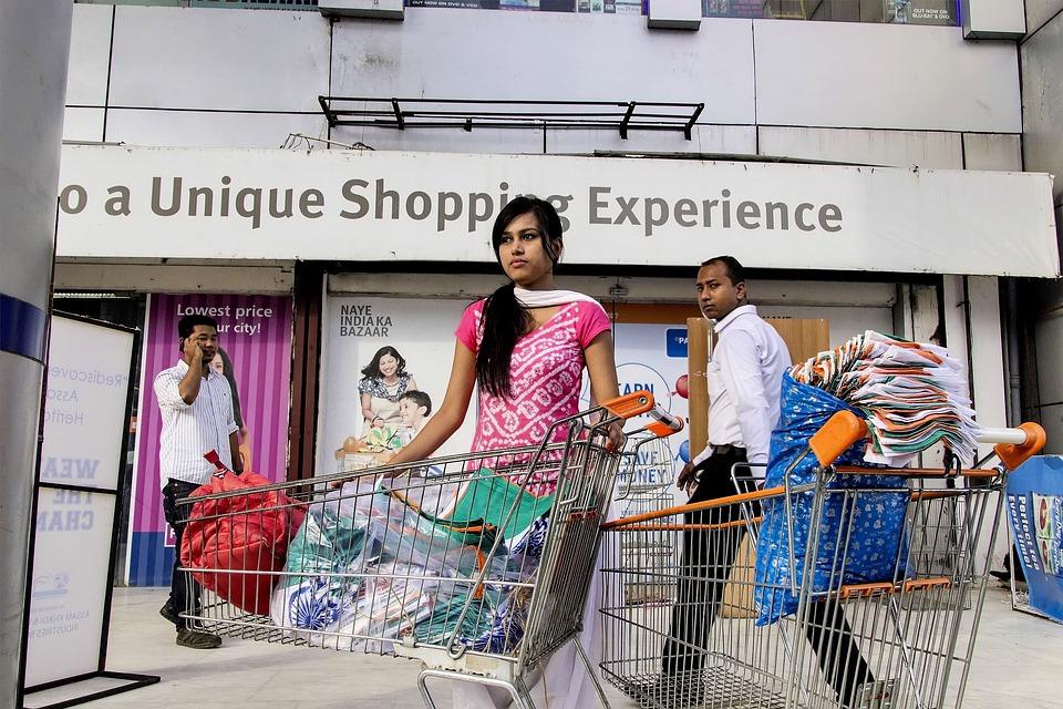 India, Compras, Caddy, Carro De Compras, Carrito, Mujer
