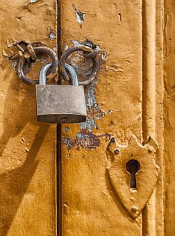 Padlock, Door, Lock, Key Hole, Macro