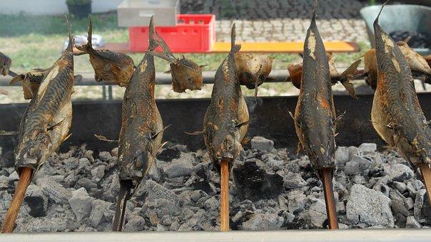Steckerlfisch, Makrele, Grill, Fisch
