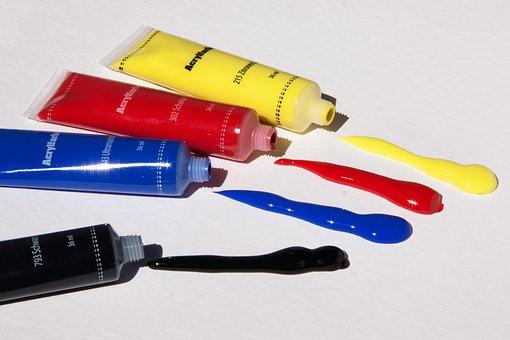 アクリル塗料, 色, 基本的な色, チューブ, カラフル, 黄色, 赤, 青
